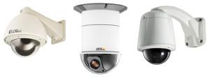 виды купольных видеокамер - цилиндрческой формы и купольной