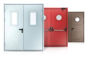 Двупольные противопожарные металлические двери